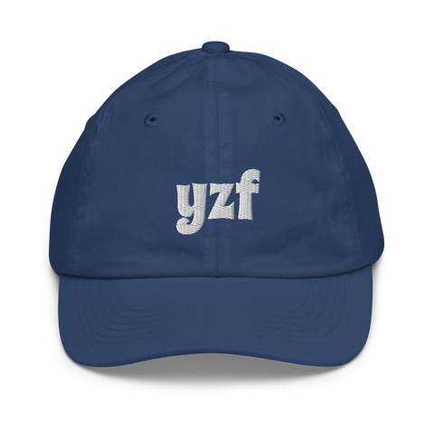 YHM Designs - YZF Yellowknife Airport Code Baseball Cap - Youth/Kids - Blue