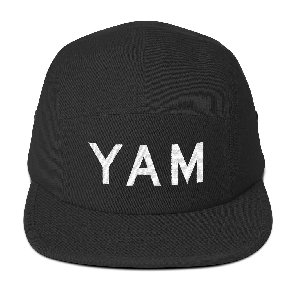 YHM Designs - YAM Sault-Ste-Marie Airport Code Camper Hat - Black - Front - Student Gift