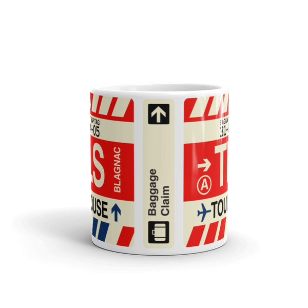 YHM Designs - TLS Toulouse Airport Code Coffee Mug - Travel Theme Drinkware and Gift Ideas - Side