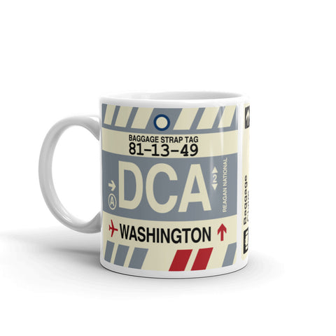 YHM Designs - DCA Washington Airport Code Coffee Mug - Birthday Gift, Christmas Gift - Left
