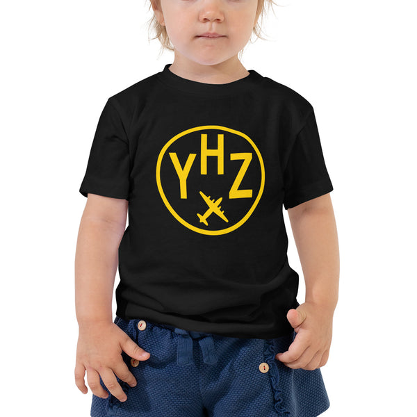 YHM Designs - YHZ Halifax T-Shirt - Airport Code and Vintage Roundel Design - Toddler - Black - Gift for Grandchild or Grandchildren