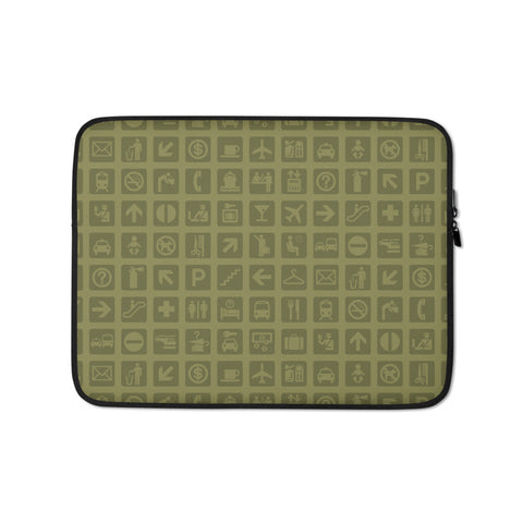 YHM Designs - Airport Symbols Laptop Sleeve • Fresh Olive Green 1