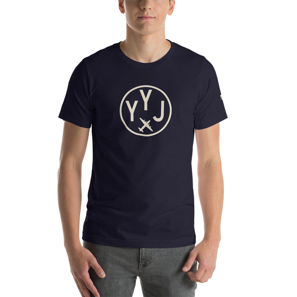 YHM Designs - YYJ Victoria Airport Code T-Shirt - Adult - Navy Blue - Birthday Gift