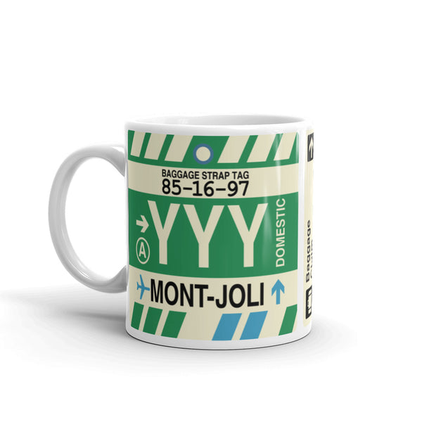 YHM Designs - YYY Mont-Joli Airport Code Coffee Mug - Birthday Gift, Christmas Gift - Left