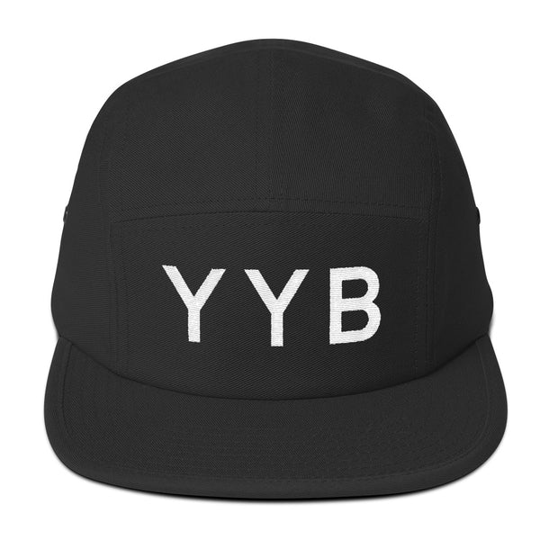 YHM Designs - YYB North Bay Airport Code Camper Hat - Black - Front - Student Gift