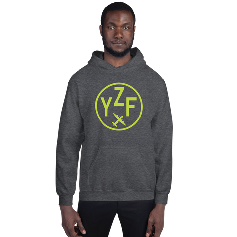 YHM Designs - YZF Yellowknife Airport Code Hoodie with Roundel Design - Dark Heather - Front