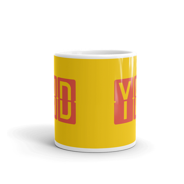 YHM Designs - YHD Dryden, Ontario Airport Code Coffee Mug - Teacher Gift, Airbnb Decor - Red and Yellow - Side