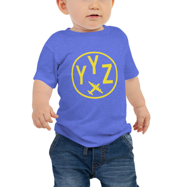YHM Designs - YYZ Toronto T-Shirt - Airport Code and Vintage Roundel Design - Baby - Blue - Gift for Grandchild or Grandchildren