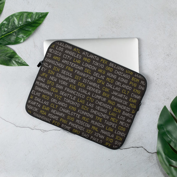 YHM Designs - World Airport Codes Laptop Sleeve • Black, White and Yellow 2