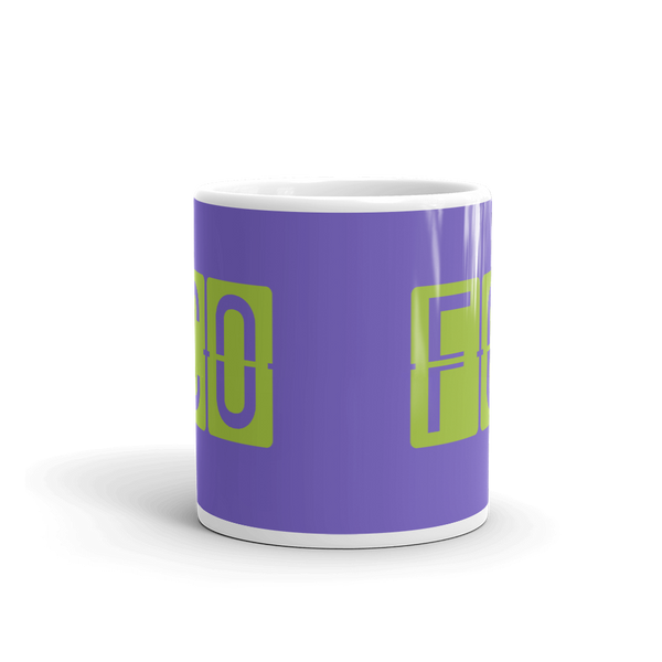 YHM Designs - FCO Rome Airport Code Split-Flap Display Coffee Mug - Teacher Gift, Airbnb Decor - Green and Purple - Side