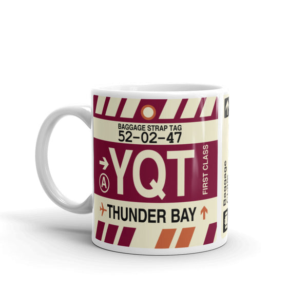 YHM Designs - YQT Thunder Bay Airport Code Coffee Mug - Travel Theme Drinkware and Gift Ideas - Left