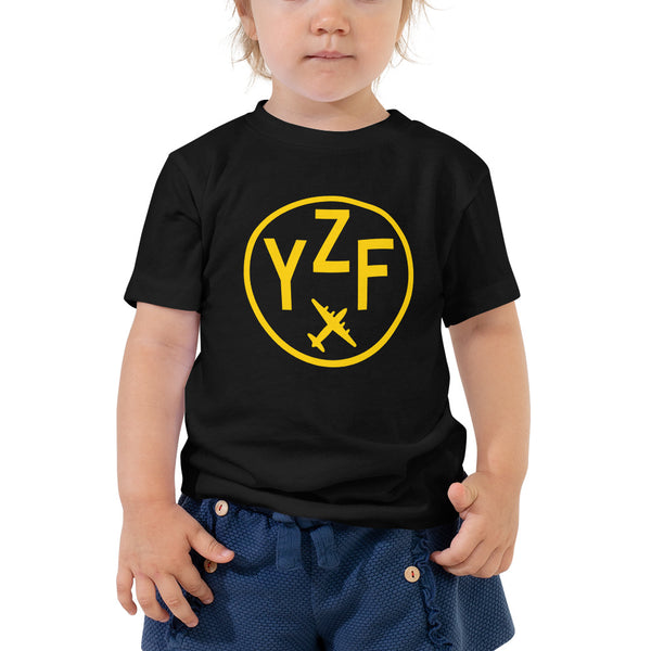 YHM Designs - YZF Yellowknife T-Shirt - Airport Code and Vintage Roundel Design - Toddler - Black - Gift for Grandchild or Grandchildren