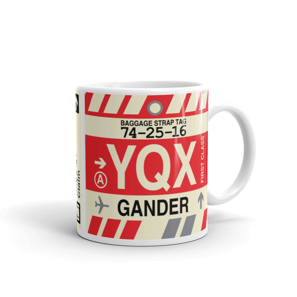 YHM Designs - YQX Gander Airport Code Coffee Mug - Graduation Gift, Housewarming Gift - Right