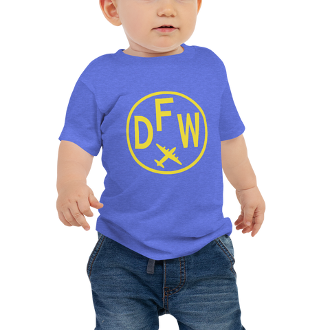 YHM Designs - DFW Dallas-Fort Worth Airport Code T-Shirt - Baby Infant - Boy's or Girl's Gift