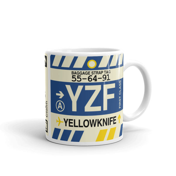 YHM Designs - YZF Yellowknife Airport Code Coffee Mug - Graduation Gift, Housewarming Gift - Right