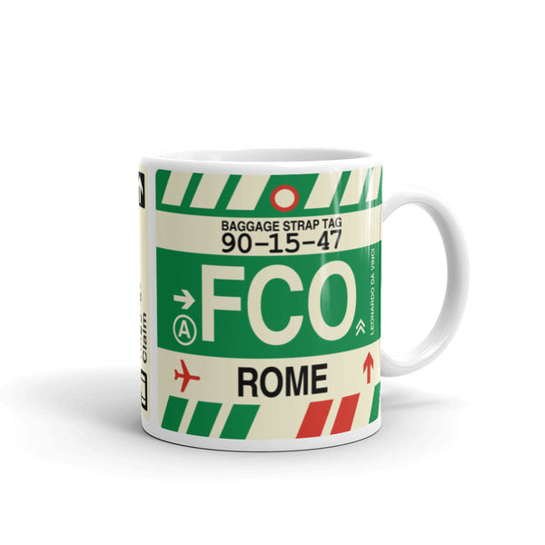 YHM Designs - FCO Rome Airport Code Coffee Mug - Graduation Gift, Housewarming Gift - Right