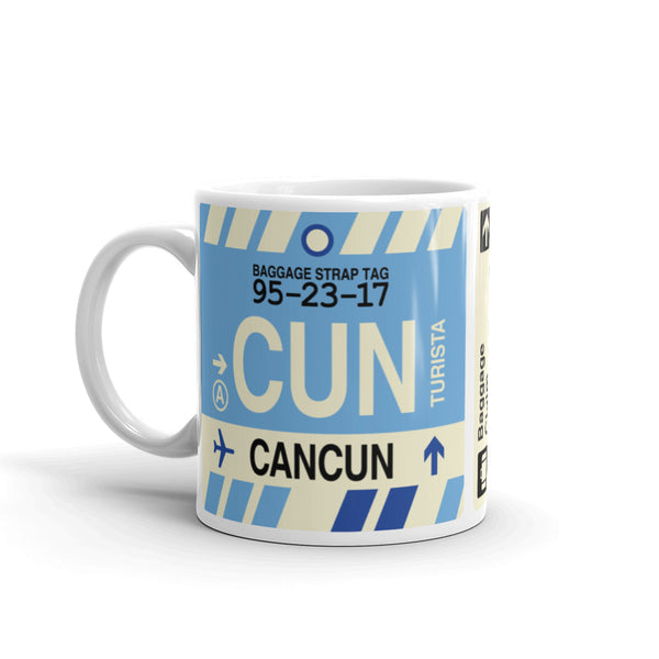 YHM Designs - CUN Cancun, Mexico Airport Code Coffee Mug - Birthday Gift, Christmas Gift - Left