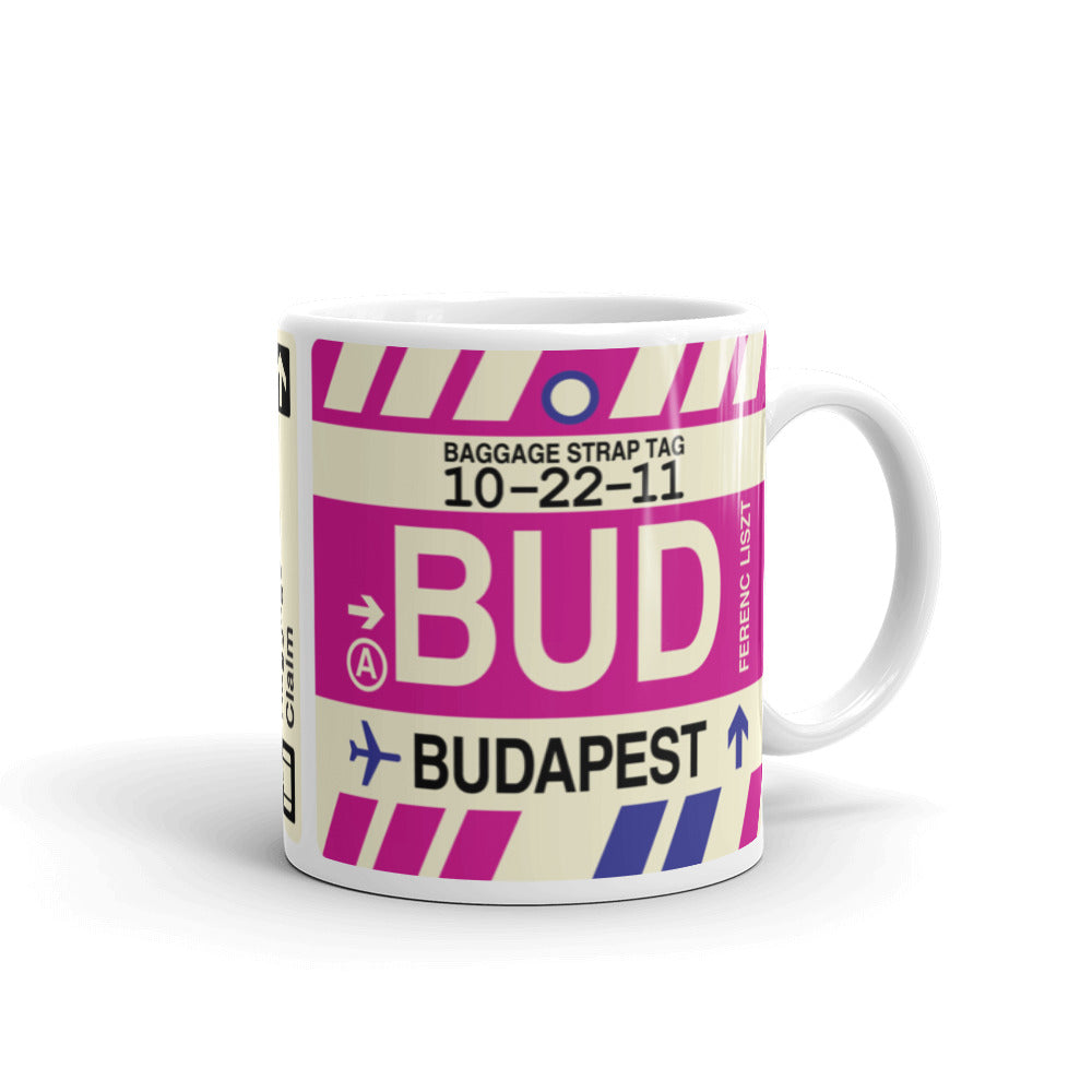 YHM Designs - BUD Budapest Airport Code Coffee Mug - Graduation Gift, Housewarming Gift - Right