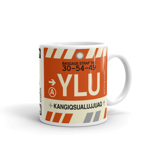 YHM Designs - YLU Kangiqsualujjuaq, Quebec Airport Code Coffee Mug - Graduation Gift, Housewarming Gift - Right