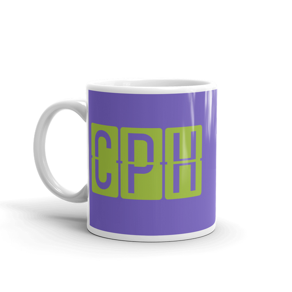 YHM Designs - CPH Copenhagen Airport Code Split-Flap Display Coffee Mug - Birthday Gift, Christmas Gift - Green and Purple - Left