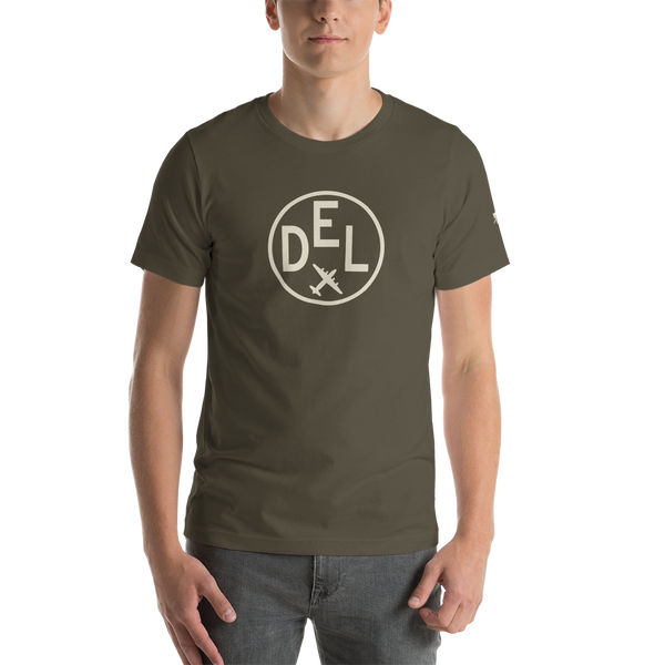 YHM Designs - DEL Delhi Airport Code T-Shirt - Adult - Army Brown - Birthday Gift