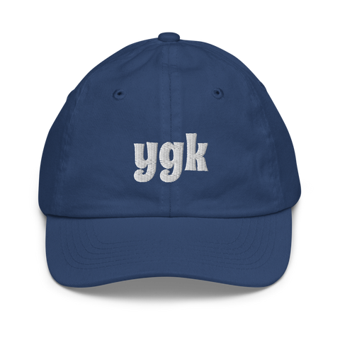 YHM Designs - YGK Kingston Airport Code Baseball Cap - Youth/Kids - Blue