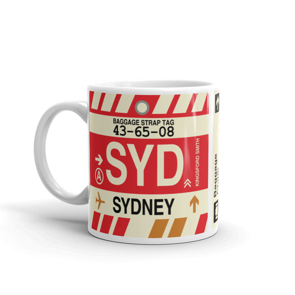 YHM Designs - SYD Sydney, Australia Airport Code Coffee Mug - Birthday Gift, Christmas Gift - Left