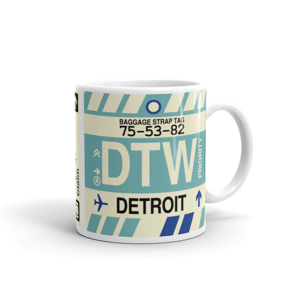 YHM Designs - DTW Detroit Airport Code Coffee Mug - Graduation Gift, Housewarming Gift - Right