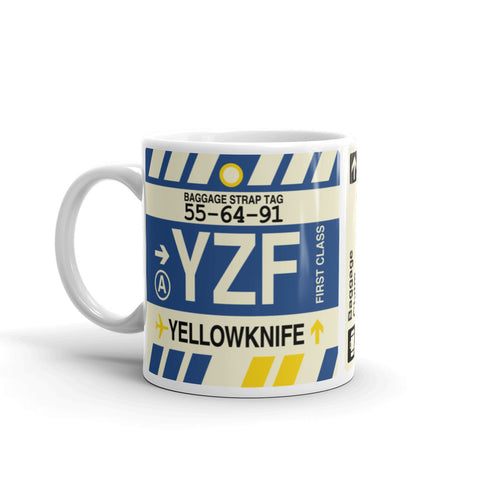 YHM Designs - YZF Yellowknife, Northwest Territories Airport Code Coffee Mug - Birthday Gift, Christmas Gift - Left