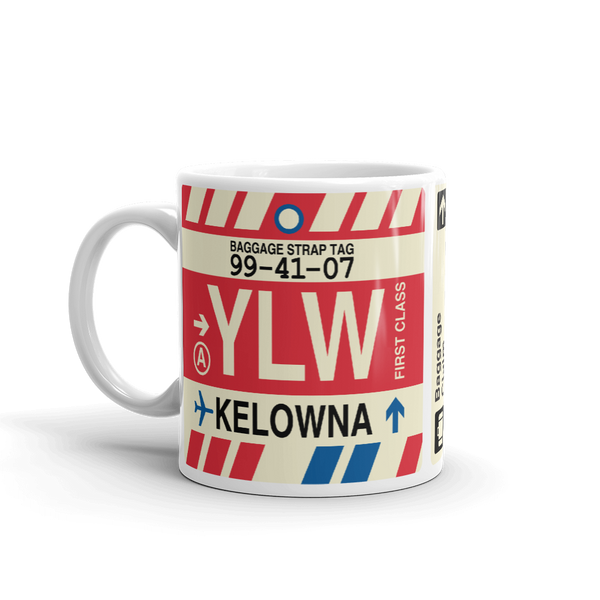 YHM Designs - YLW Kelowna Airport Code Coffee Mug - Birthday Gift, Christmas Gift - Left