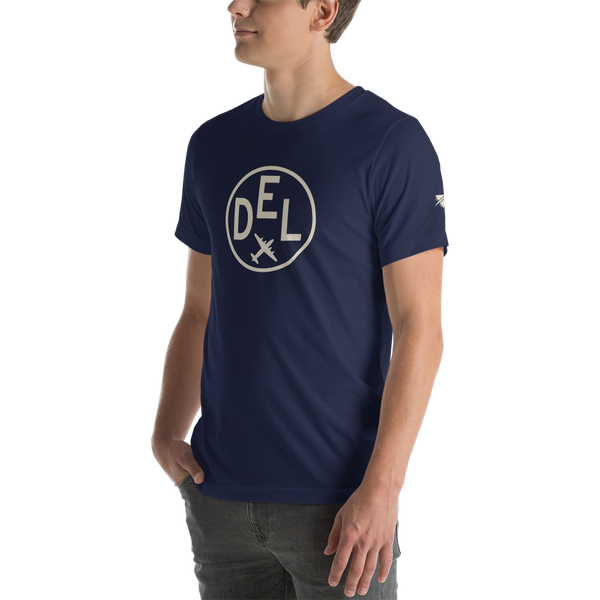YHM Designs - DEL Delhi Airport Code T-Shirt - Adult - Navy Blue - Gift for Dad or Husband