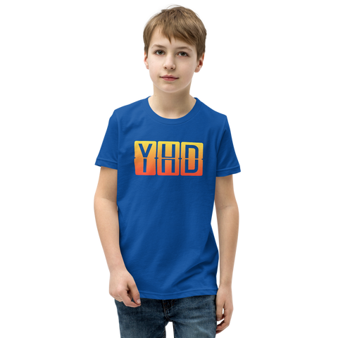 YHM Designs - YHD Dryden Airport Code T-Shirt - Split-Flap Display Design with Orange-Yellow Gradient Colours - Child Youth - Royal Blue 1