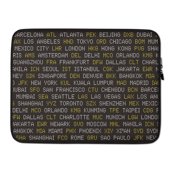 YHM Designs - World Airport Codes Laptop Sleeve • Black, White and Yellow 3