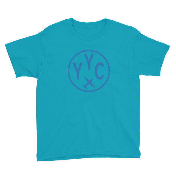 YHM Designs - YYC Calgary T-Shirt - Airport Code and Vintage Roundel Design - Child Youth - Caribbean blue - Gift for Kids