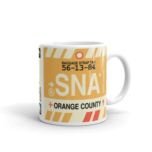 YHM Designs - SNA Orange County, California Airport Code Coffee Mug - Graduation Gift, Housewarming Gift - Right