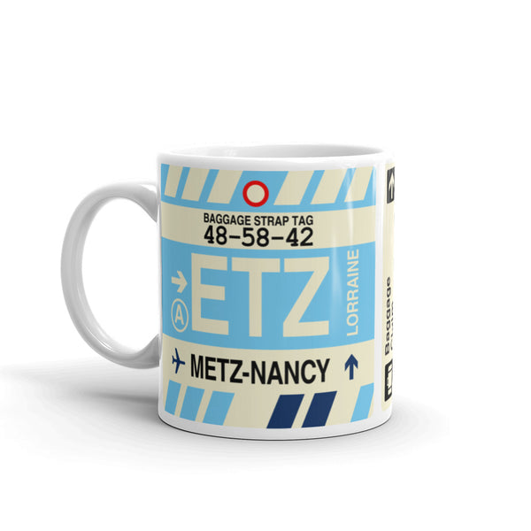 YHM Designs - ETZ Metz-Nancy-Lorraine, France Airport Code Coffee Mug - Birthday Gift, Christmas Gift - Left