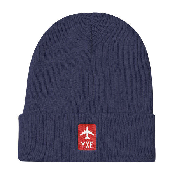 YHM Designs - YXE Saskatoon Retro Jetliner Airport Code Winter Hat - Navy Blue - Aviation Gift