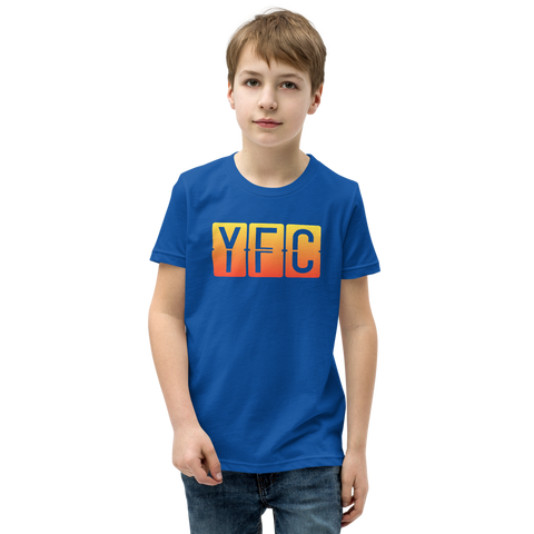 YHM Designs - YFC Fredericton Airport Code T-Shirt - Split-Flap Display Design with Orange-Yellow Gradient Colours - Child Youth - Royal Blue 1