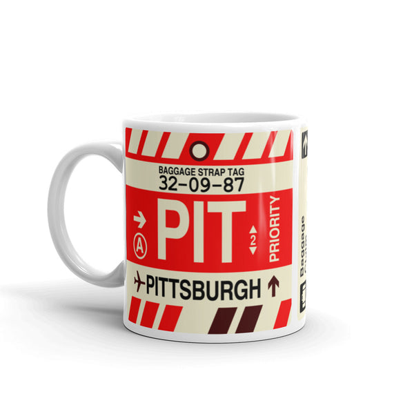 YHM Designs - PIT Pittsburgh Airport Code Coffee Mug - Birthday Gift, Christmas Gift - Left