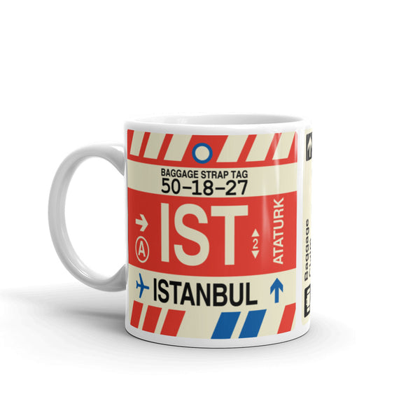 YHM Designs - IST Istanbul Airport Code Coffee Mug - Travel Theme Drinkware and Gift Ideas - Left
