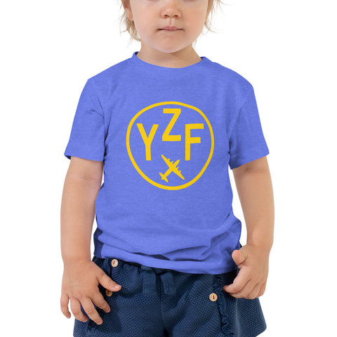 YHM Designs - YZF Yellowknife T-Shirt - Airport Code and Vintage Roundel Design - Toddler - Blue - Gift for Child or Children