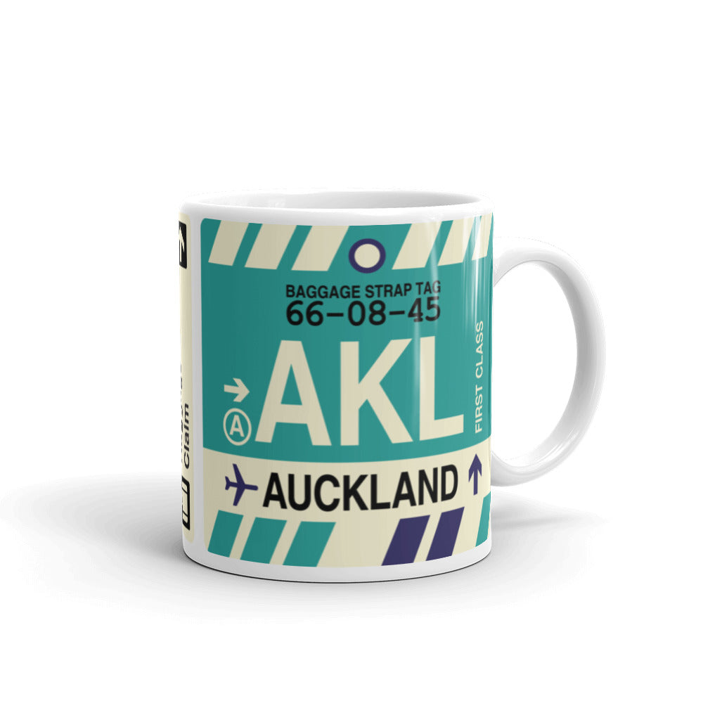 YHM Designs - AKL Auckland, New Zealand Airport Code Coffee Mug - Graduation Gift, Housewarming Gift - Right