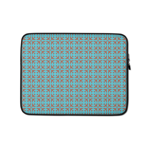 Jetliner Pattern Laptop Sleeve • Copper and Light Blue