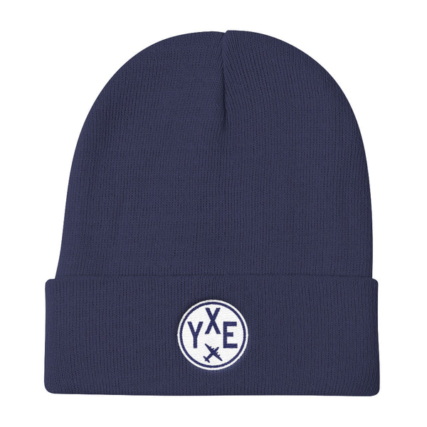 YHM Designs - YXE Saskatoon Vintage Roundel Airport Code Winter Hat - Navy Blue - Local Gift - Birthday Gift