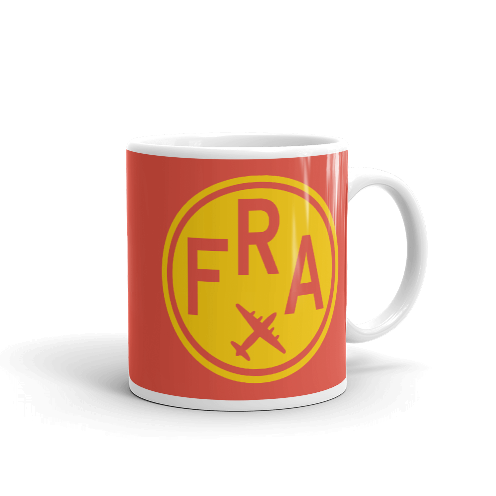 YHM Designs - FRA Frankfurt Airport Code Vintage Roundel Coffee Mug - Graduation Gift, Housewarming Gift - Yellow and Red - Right