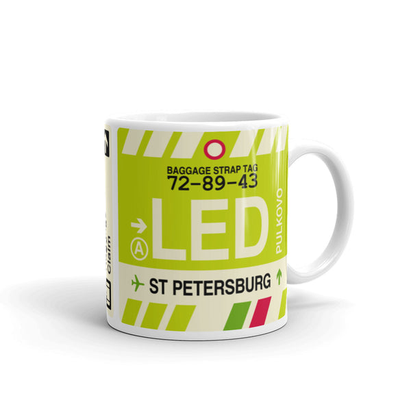 YHM Designs - LED Saint Petersburg, Russia Airport Code Coffee Mug - Graduation Gift, Housewarming Gift - Right
