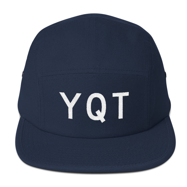 YHM Designs - YQT Thunder Bay Airport Code Camper Hat - Navy Blue - Front - Christmas Gift