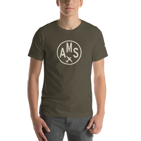 YHM Designs - AMS Amsterdam Airport Code T-Shirt - Adult - Army Brown - Birthday Gift