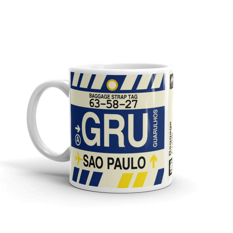 YHM Designs - GRU Sao Paulo, Brazil Airport Code Coffee Mug - Birthday Gift, Christmas Gift - Left