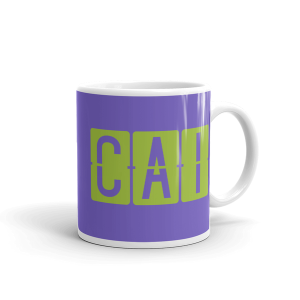 YHM Designs - CAI Cairo Airport Code Split-Flap Display Coffee Mug - Graduation Gift, Housewarming Gift - Green and Purple - Right